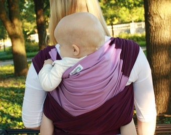 Baby Carrier Hybrid Stretch Wrap - Plum & Lavender - Comfortably Carry Newborn To Toddlers On Your Front or Back -  Custom Fit Every Time