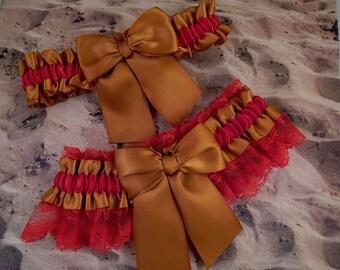 Gold Satin Red Lace Wedding Bridal Garter Toss Set