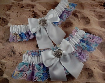 Rainbow Multicolored Lace White Satin Heart Rhinestone Wedding Bridal Garter Toss Set