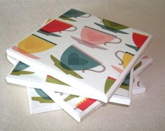 Retro Tea Cup Coasters, Ceramic Tile Coasters, Cottage Chic Home Decor, Housewarming Gift, Rustic Coasters - 036