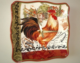 SILENT Rooster Wall Clock, Olive Green Rust Black Damask Rustic Rooster Clock French Country Home Decor, Ceramic Plate Clock - 1857