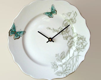 Sage Turquoise Floral Wall Clock SILENT with Butterfly, 11 Inches, Numbers Optional, Porcelain Plate Clock - 2174