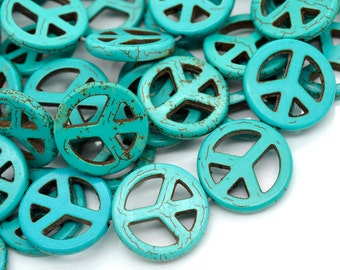 Turquoise Peace Sign Beads, Howlite,  25mm, 17pcs,  Peace Symbol -B596