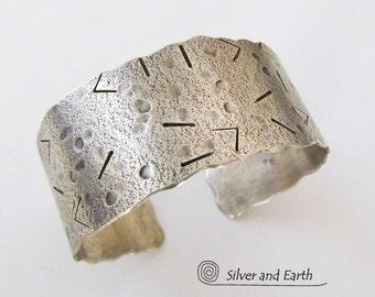 Sterling Silver Cuff Bracelet, Unique Textured Bracelet, Handmade Metal Jewelry, Modern Silver Bracelet, Artisan Metalsmith Silver Jewelry