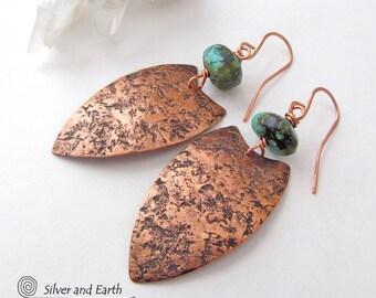 Tribal Shield Earrings, African Earrings, Copper & Turquoise Earrings, Rustic Ethnic Tribal Jewelry, Handmade Artisan Metalsmith Earrings