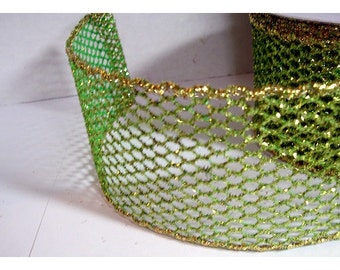 Glittered Mesh Ribbon/  Lime Green & Gold Color/ 3 Yards/ Craft Supplies*