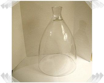 "Glass Cloche with Glass Knob/Dome Shape- 10"" tall/ Home Decor/Suuplies*"