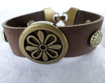 Brown Leather Bracelet w/ Flower Charm