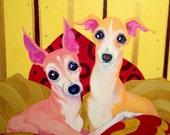 Italian Greyhound art print, true Love, Best friends 8x10 inch print, crtsart