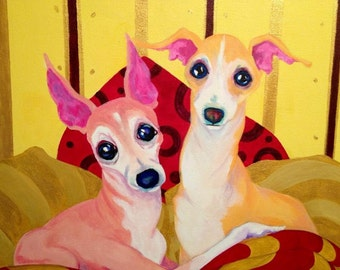 Italian Greyhound art print, true Love, Best friends 8x10 inch print, crtsart
