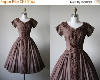 ON SALE 50s Dress - Vintage 1950s Dress - Chocolate Dotted Swiss Lace Princess Cotton Full Skirt Party Dress XS S - Tobacco Run Dress