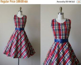 ON SALE 60s Dress - Vintage 1960s Dress - Red Blue Bias Cut Plaid Full Skirt Sundress S M - Madras Dress
