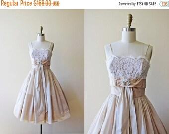ON SALE 50s Dress - Vintage 1950s Dress - Neutral Lace Organdy Designer Wedding Party Dress XS - Milk and Tea
