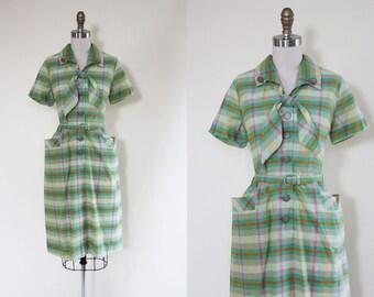 50s Dress - Vintage 1950s Dress - Olive Pumpkin Cotton Blend Plaid Day Dress L XL - Field Greens Dress
