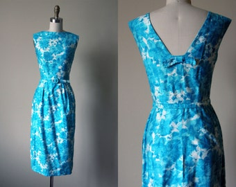 50s Dress - Vintage 1950s Cocktail Dress - Turquoise White Rose Print Cotton Party Dress M - Skylight Dress