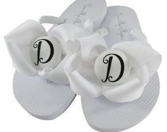 White with Black Glitter Script Initial Flip Flops for the Bridesmaids & Bride at the wedding