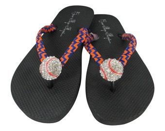 Royal Blue & Orange Baseball Flip Flops, Chevron ribbon Sandals with rhinestone bling ball, team colors/ Baseball Mom