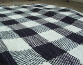 "Rag Rug handwoven rustic upcycled, 36""x 21"", Black and White Checked woven Rug"