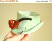 Vintage Lefton pipe ashtray, green leprechaun hat, brown pipe, original label, cigarette ashtray, Irish style, gift for dad, cigar smoker