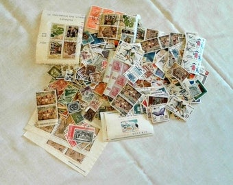 Vintage 300 Piece Lot of Off-Paper Worldwide Postage Stamps for Philately Scrapbooking Decoupage Mixed Media Art and Craft Projects
