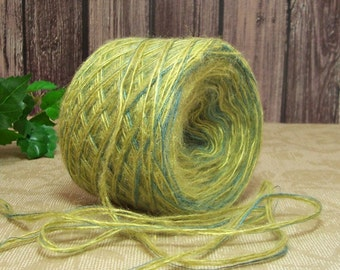 Granny Apple Green Yarn, Blended yarn & Fibers, Lime and Teal Yarn, Soft, Fuzzy Combo,  BIN C