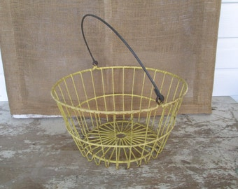 Yellow Metal Vinyl Coated Egg Gathering Basket,Country Home Living, Prairie Style Home,Farmhouse style,Farm House decor,Cottage Style,