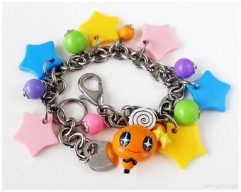 Tamagotchi Charm Bracelet, Stainless Steel Chain, Colorful, Gamer Gifts, Harajuku Fashion, Memetchi
