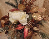 Poinsettia Peony Pine Floral Arrangement In Gold Urn