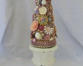 Upcycled Vintage Jewelry Rhinestone Assemblage Tree Shabby Floral Pastel Mosaic Collage