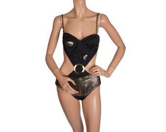 Vintage 1960s Bathing Suit Black and Gold Silk - Bombshell