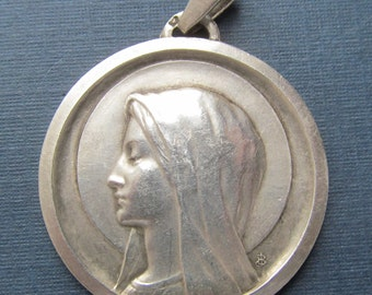 Reserved Virgin Mary French Silver Vintage Religious Medal Catholic Pendant   SS277