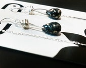Sterling Threader Earrings with Jet Black Speckled Czech Glass Drops, FREE FIRST CLASS shipping, Ready to Ship, teen, Threaders, rustic
