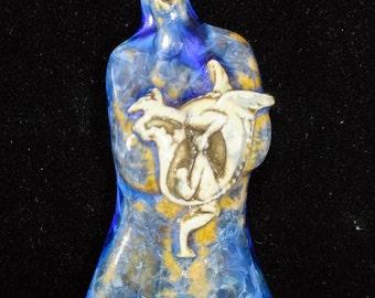 Gold Sapphire Dragon Crystalline Glazed Porcelain Goddess Torso Pendant