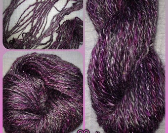 Hand Spun Yarn - DK - Mohair/Soffsilk®/Sparkle Hand Spun- Purple Sunshine - 2 oz - 60 Yds (HS1505)