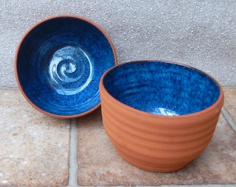 Pair of serving bowl dip dish handthrown terracotta pottery soup olives nibbles
