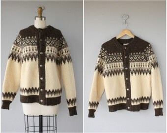 Vintage Fair Isle Sweater | Nordic Cardigan | Vintage Wool Cardigan | Fair Isle Cardigan | 60s Wool Cardigan | Made In Denmark