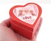 Love Birds Wedding Rings Box - Heart Shaped Wooden Lidded Box - Pill Box, Powder Box - Country cottage Wedding theme
