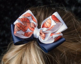 Hair Bow - Blue and White Basketball Game Day Bows, Girls Hair Bow
