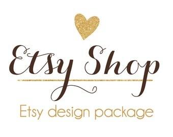 Etsy Shop Design, Etsy Cover & Shop Icon, Etsy Banner, Avatar - Premade Design Package / Heart Gold Glitter Design, Caligraphy, Modern Logo