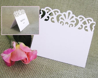 50 Blank Wedding Placecards - Lace Flourish/ Tent Place Cards/ Free Standing Placecards/  Wedding Reception, Rehearsal Dinner, Name Card
