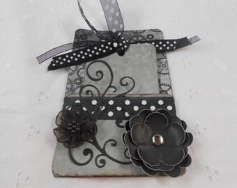 Handmade tag and holder journaling tag paper flowers ribbons deep aqua flourish cardstock scrapbooking tags