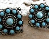 Silver Filigree Earrings With Turquoise Blue Stones