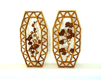 Asian Inspired Faux Bamboo (plastic) Pair of Wall Hangings - Vintage Dart Homco 7412
