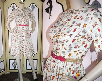 Vintage 60's Shirtwaist Dress in Novelty Print of Scales and Measures. DEADSTOCK. XS Small.