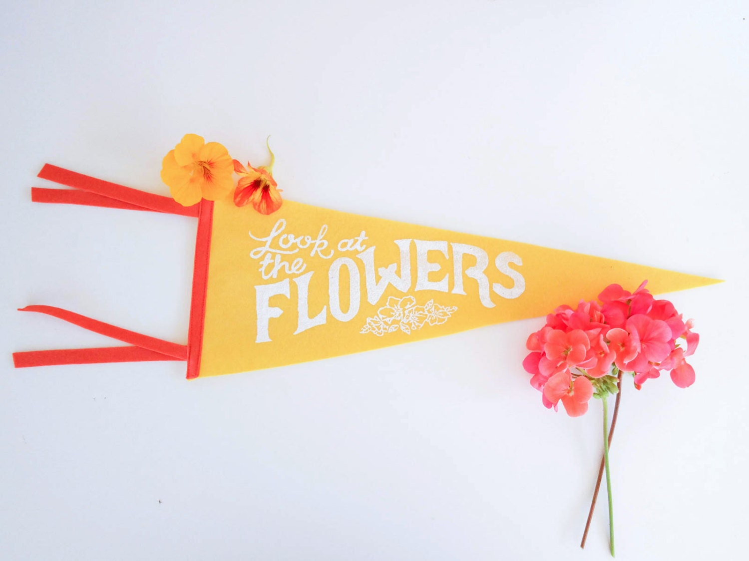 Felt pennant: Look at the flowers available on Etsy | by Kate Wong stripedcatstudio.com