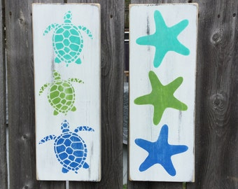 Turtle and Starfish Set of 2 Signs Nursery and Beach Cottage decor
