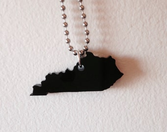 Laser Cut State Shape Necklace - Kentucky Necklace - Black Acrylic Plastic