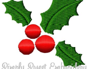 Christmas Holly Machine Embroidery Design Mini