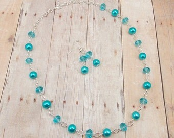 Necklace and Earring Set - Bright Aqua Blue Glass Pearls with Color Match Glass Beads - Capri - Turquoise - Malibu