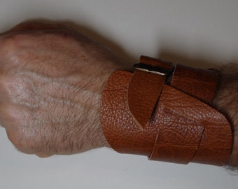 Genuine leather double wrap cuff, brown tan leather men cuff,  handmade brown leather bracelet. Handcrafted leather jewelry.